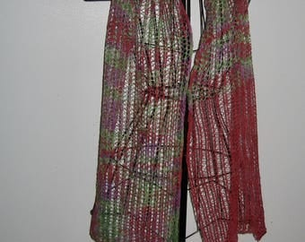 Merino Lace Scarf in Red, Purple, and Green