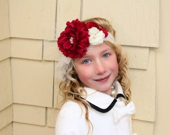 Vintage style red ivory silk satin lace headband,netting, red headband-christmas headband, Great Gatsby ,-flower girl-bridal ready to ship
