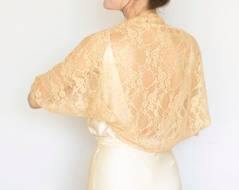 Gold bolero, bridesmaid shawl, gold bridal bolero, wedding cover up, gold shrug, wedding shrugs and boleros, lace bolero, bridal shrugs