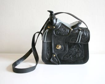 Tooled Black Leather Saddle Purse