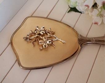 Vanity Hand Mirror - Flower Motif - Ornate Feminine - Oak Hill Vintage