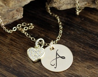 Personalized Heart Necklace, Gold Initial Heart Necklace, CZ Heart Necklace, Mothers Day Gift, Anniversary Necklace, Gift for Wife