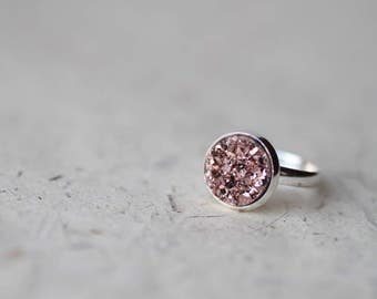 Copper Tone Rose Gold Druzy Adjustable Ring - Faux Raw Crystal Ring - Sparkling Jewelry