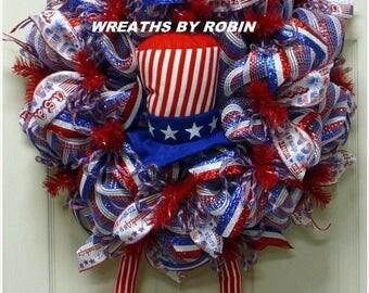 12% OFF Patriotic Wreath, Uncle Sam Wreath - Item 2631