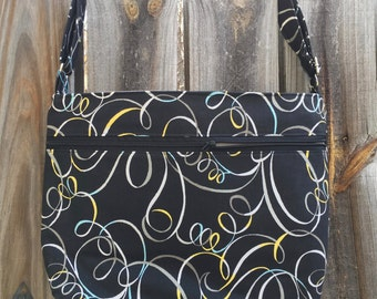 Zipper Pocket Cross Body Bag - Black with blue, yellow and gray swirl