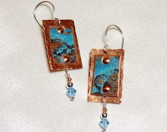 Copper Rectangle Earrings with Azure Patina