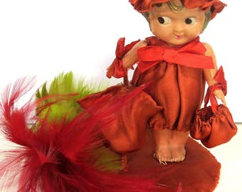 Celluloid Googly Eye Doll with Red Satin Dress, Bonnet & Purse, Side Glancing, Carnival Prize