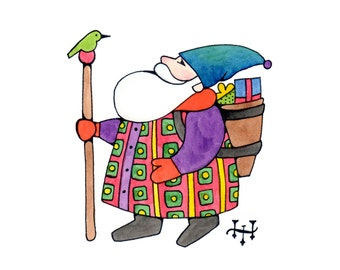 Colorful Santa #1 Art Print