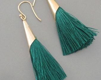 Statement Earrings - Tassel Earrings - Emerald Green Earrings - Gold Earrings - Boho Earrings - Handmade Earrings