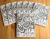 Chicago Coloring Book, 2017 Gift Souvenir, Adult Coloring Book, City Prints Illustrations, Kids Color Fun, Midwest Illinois Activity