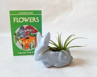 Vintage Baby Bunny Planter 1950s Pottery Bunny Rabbit Planter Vase / Sweet Baby Blue Bunny Planter Springtime Country Cottage Home Decor