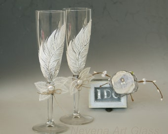 White Feather Glasses, Wedding Glasses, Champagne Glasses, Hand Painted Set of 2
