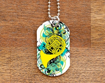 French Horn Dog Tag Necklace for Band Geeks