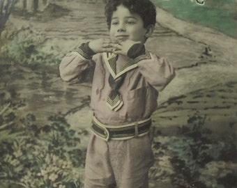 French Vintage Birthday Postcard - Cute Young Boy