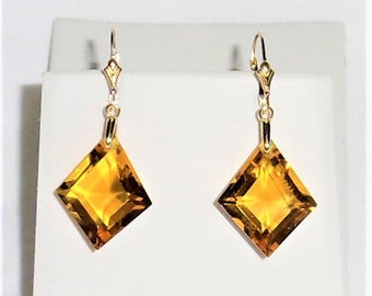 Natural 27cts Fancy cut Orange Citrine gemstones, 14kt yellow gold Leverback Earrings