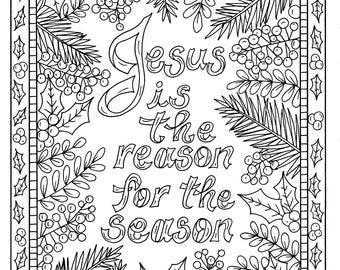 christian christmas coloring page adult coloring books art rh etsy com christmas presents coloring pages christmas - Christian Coloring Pages For Adults