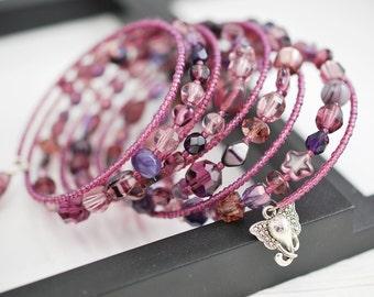 Purple Wrap Bracelet, Memory Wire Bracelet, Purple Bracelet, Seed Bead Bracelet, Beaded Bracelet, Boho Bracelet, Beaded Wrap Bracelet