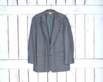 Mens vintage Claiborne tan/green wool tweed  hounds tooth sport coat jacket blazer/Liz Claiborne mens wool dinner jacket/40L