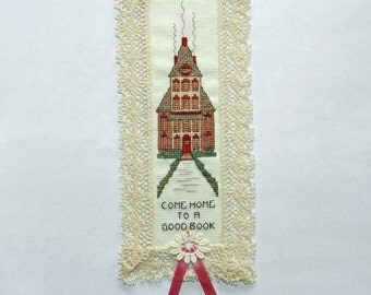 Come Home To A Good Book Bookmarker Counted Cross Stitched Home Decor Homemade Gift for Girl or Woman Fischerimages