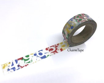 Number Washi Tape with Paint Splatter 15mm x 11 yards WT308