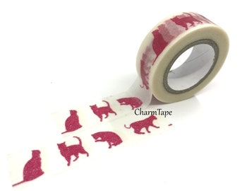 Washi Tape - Red Cat silhouette 15mm x 8 meters WT575