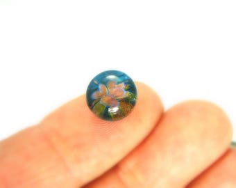 Sea Blue Floral - Mini Lampwork Glass Cabochon - 9mm - Jewelry Making Supply