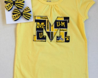 University of Michigan Block M Applique Top Girls 4 4T Ready to Ship