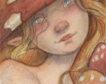 Mushroom Fairy....Original ACEO