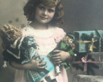 Christmas Postcard -Antique Photo - Dresden Ornament - Christmas  Tree -Girl Doll - Teddy Bear