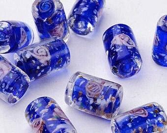 NEW Gorgeous Handmade Inner Flower Lampwork Beads Column Shape 16 MM x 10 MM (8)  (CLBB244)