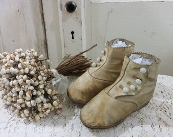 vintage Antique white BABY shoes