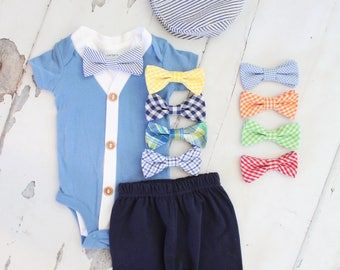 Newborn Baby Boy Coming Home Outfit Set and Birthday Outfit to 4 Items. Cardigan Bodysuit, Bow Tie Bodysuit, Shorts & Seersucker Hat Summer
