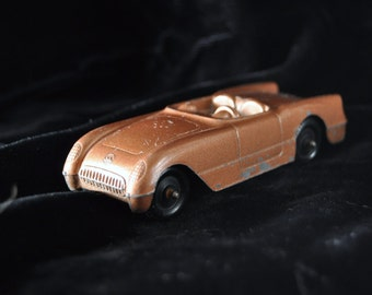 Vintage Tootsie Toy Metal Corvette Car Collectible GM USA Chevrolet Copper Color Diecast 53-55 Vette 3030 Mancave decor 50s-60s