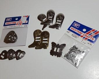 Mixed bag Conchos, concha, butterflies, hearts, boots, silver metal, gold metal, trim conchos, craft embellishment