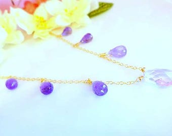 Pink amethyst and purple amethyst gold drop necklace, lavender fields Provence wedding necklace, Lavender purple stone gold filled necklace