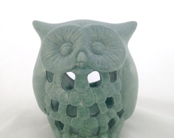 Ceramic Owl Candle Tealight Votive Holder - Sage Green Speckled Lantern