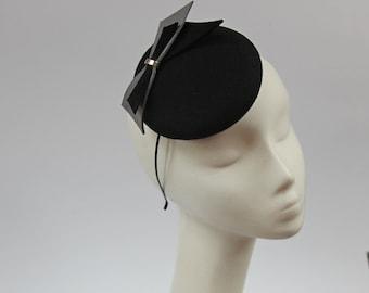 Mini Hat-Button-Fascinator-Wool Felt-Black