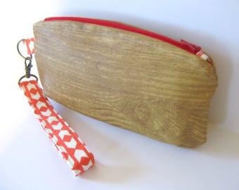 Wood Grain Vegan Leather and Arrows Zipper Clutch Wristlet Bag