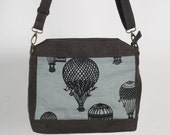 Hand Made Waxed Canvas Bag With Hot Air Ballon Screen Print.