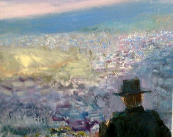 God created man. Man has built cities. 50 cm x 70 cm.Original oil painting .Canvas stretched.