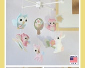 Baby Crib Mobile , Woodland Critters Mobile, Baby Girl Mobile, Bunny Deer Fox Squirrel and Owl friends Theme