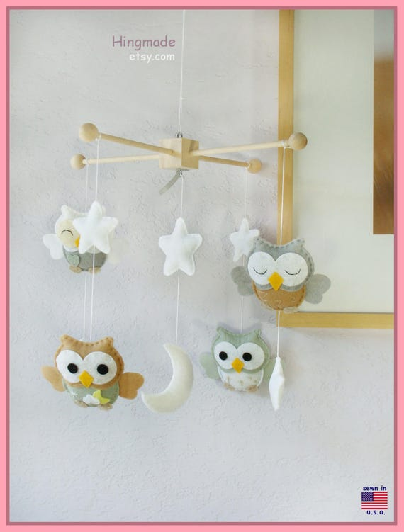 Owl Mobile, Baby Crib Mobile, Nursery Mobile, Baby Room Decor, Green Nursery Decor, Neutral Owl Mobile, Sage and Beige Owl Mobile