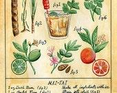Botanical Mai Tai print (classic tiki cocktail)