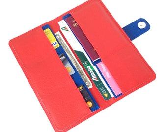 Red travel wallet organizer, vegan boarding pass holder, travel accessories, travel document holder, passport wallet, travel gift for women
