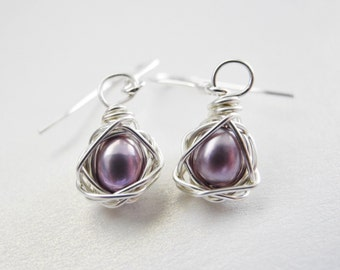 Petite Bird Nest Jewelry, Lavender Colored Cultured Freshwater Wire Wrapped Pearl Earrings with Sterling Silver Hooks