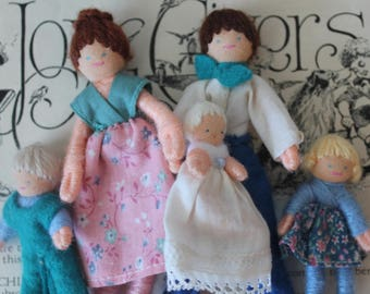 Vintage Half Penny HearthSong Pocket Dolls Family of Five Vintage Half Penny Pocket Dolls Vintage Dollhouse Miniature Doll Family