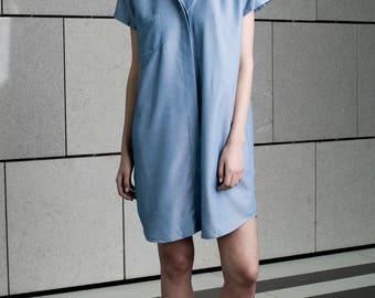 Women denim dress, oversized dress, summer dress, blue day dress, loose fit, plus size, sundress, short t shirt dress, casual style