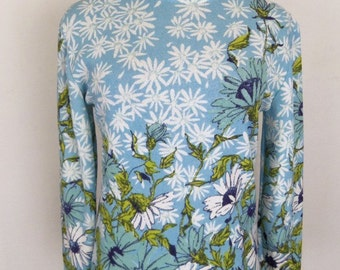 Vintage 60's Knit Top Blouse Blue Floral Print Size M / Medium