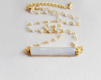 Selenite Necklace, Moonstone Necklace, Stone Necklace, Short Necklace, Moonstone, Bohemian Necklace, Boho Necklace, Festival Necklace