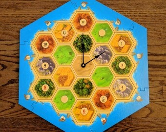 Settlers of Catan Board Game Clock - Full Game Board - 5th Edition